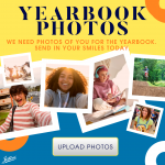 Yearbook Photos Logo with Polaroid pictures of students