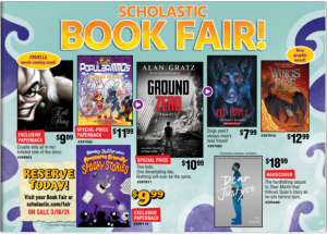 Scholastic Book Fair flyer. Flyer shows a variety of book covers that can be purchased at the book fair.