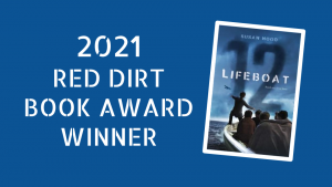 Lifeboat 12 book cover. Blue background of the ocean with a lifeboat on the water and a silhouette of a person standing on lifeboat.