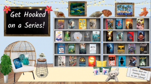 """Tropical themed book display with two bookshelves holding a variety of books and a sign next to the bookshelves that reads """"get hooked on a series""""."""