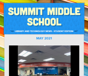 """Yellow text on blue background reads """"Summit Middle School"""""""