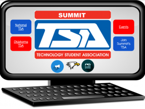 Desktop computer that is displaying information about the Technology Student Association on the monitor.