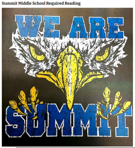"""Eagle face on black background with text reading """"We are Summit"""""""