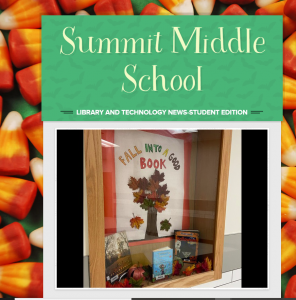 Newsletter with candy corn in the background and a fall-themed book display featured